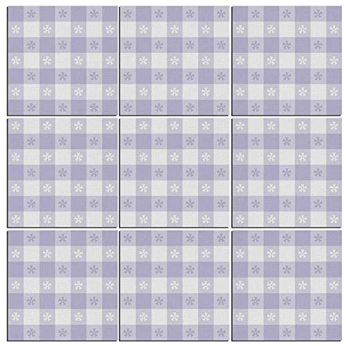 iPrint 9 Pieces Lavender Canvas Wall Art,Pastel Colored Classic Gingham Check Pattern with Delicate Small Blossoms (Framed Mini Gingham)