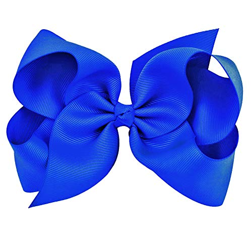 Royal Blue Grosgrain Bow Clip - Extra Large Bows with Alligator Clips by CoverYourHair]()
