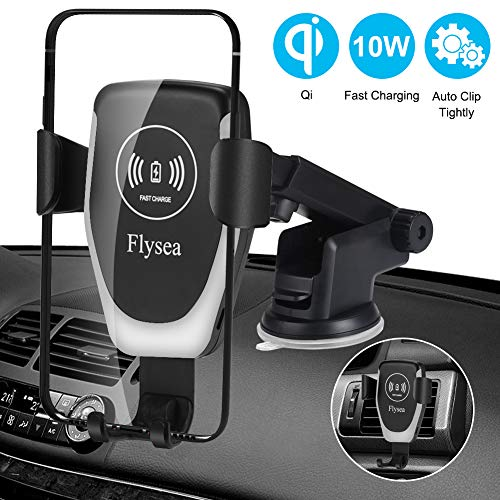 Wireless Car Charger,Flysea Automatic Clamping, 10W Qi Fast Charging Car Mount, Air Vent Phone Holder Compatible with iPhone Xs/Max/X/XR/8/8 Plus, Samsung Galaxy Note S10/S10+/S9 /S9+/S8/S8+