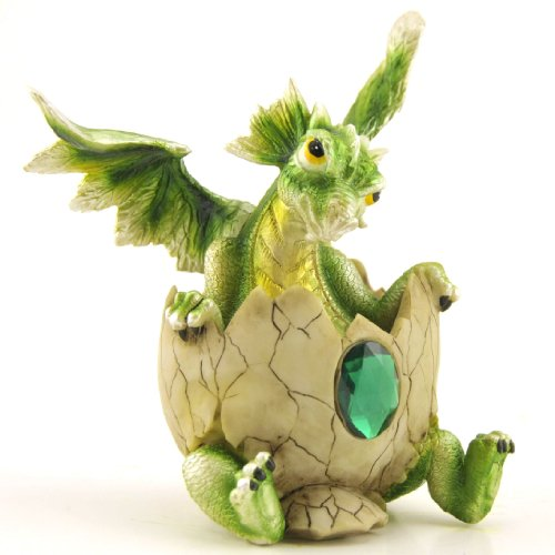 Baby Dragon in Egg with Birthstone, Collectible Figure, 5.25-inch