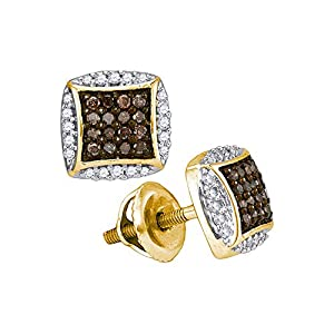 Cognac and White Diamond Fashion Earrings in 10K Yellow Gold (1/3 cttw)