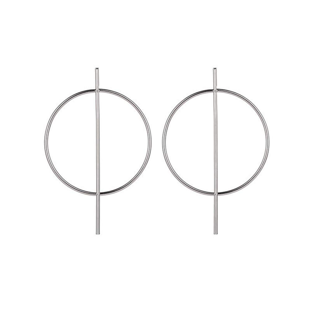 Eightgo Oversize Geometric Earrings Big Round Circle Bar Hoop Earrings for Women(Silver)
