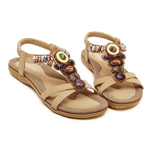 Sandalen Damen Flache Frau böhmischen Geschenk beiläufige Mode VJGOAL Sandalen Frauen U Schuhe Flache Mädchen Sommer khaki Strand pw5Bgxq