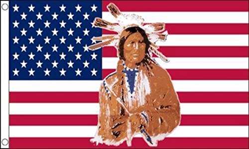 Native American Indian US Flag 5'x3' (150cm x 90cm) - Woven Polyester
