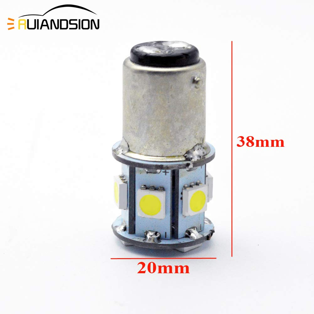 Ruiandsion 2pcs 1157 BAY15D LED Bulbs White 6-30V Super Bright 5050 9SMD LED Replacement for Backup Reverse Tail Lights