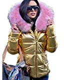 Aofur Ladies Casual Short Down Parka Hooded Jacket Winter Thick Warm Fur Lining Coat for Women (XXX-Large, Gold)