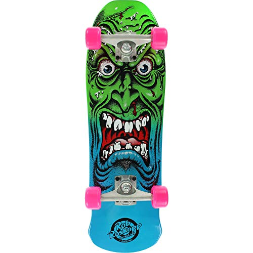 Santa Cruz Skateboards Rob Roskopp Mini Face 80s Blue/Green Cruiser Complete Skateboard - 8.025 x 26