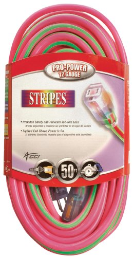 Coleman Cable 2548-77 50-Feet 12/3 Neon Outdoor Extension Cord, Pink/Green