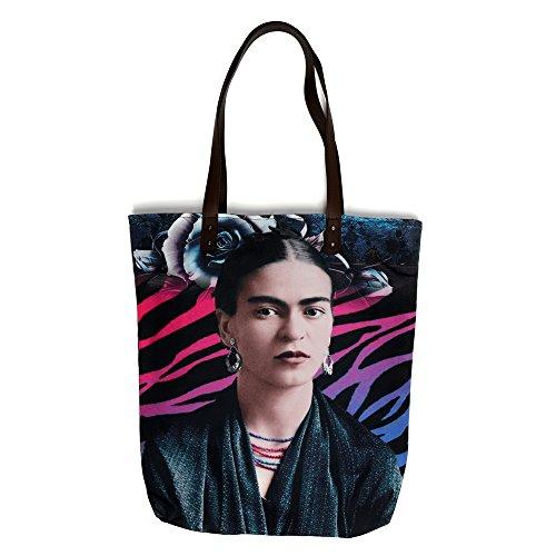 Akitai Young Frida Kahlo Printed Canvas Women Tote Shoulder Bag Purse Handbag  Zebra