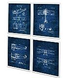 nice art decor wall ideas Vintage Biplane Wall Art Set of 4 Unframed Blue Prints Aviation Biplane Room Decor Pilot Gift Ideas Patents_Aviation_Blue4A