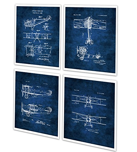 Art Set of 4 Unframed Blue Prints Aviation Biplane Room Decor Pilot Gift Ideas Patents_Aviation_Blue4A ()