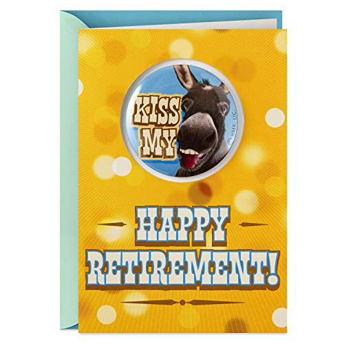 Hallmark Funny Retirement Card with Removable Button (Kiss My Ass)