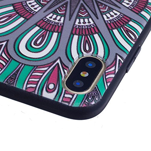 iPhone X Hülle Künstlerisches Muster Premium Handy Tasche Schutz Schale Für Apple iPhone X / iPhone 10 (2017) 5.8 Zoll + Zwei Geschenk