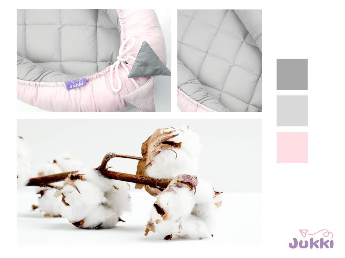 Reisebett f/ür Baby und S/äuglinge Kuschelnest Kissen 100/% Baumwolle gesteppt Farbe: Grau und Rosa JUKKI/® Babynest Babynestchen 50x90 cm Babykokon Nestchen f/ür Babybett