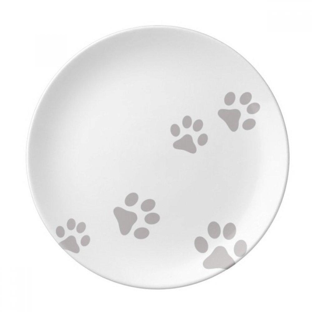 Cat Meow Animal Gray Footprint Art Paw Print Dessert Plate Decorative Porcelain 8 inch Dinner Home