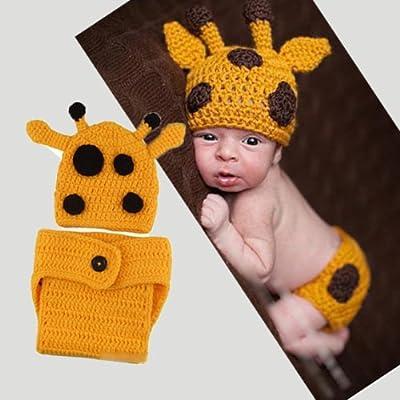 Jianyana Lovely Handmade Giraffe Theme Woolen Crochet Set Baby Newborn  Outfit Photo Prop (deer) 19e1fde6757e