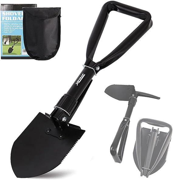 Tri-Folding Camping Shovel /& Saw Foldable Off Road Shovel Jeep Folding Shovel