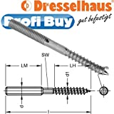 Dresselhaus Stockschrauben and 10x 50mm with Reduced Rolled Wood Thread with for Office, Galvanized-galvanisée-lot 100-0/2231/001/10/50/02