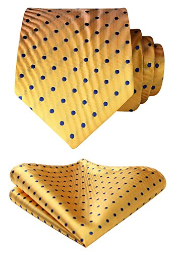 Mens Dots Black Necktie (Enmain Mens Tie Dot Necktie and Pocket Square Set for Wedding Party Black/White)