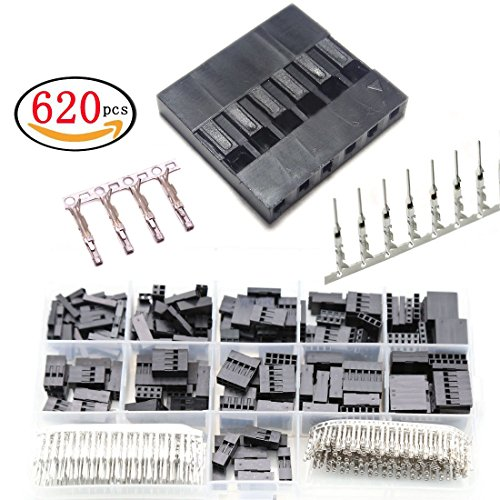 620pcs 2.54mm Male Female Jumper Terminals Set copper Plug Housing Pin Header Crimp Terminals Connector Sockets Assortment Kit Box-packed (Pin Female 4 Connector Housing)