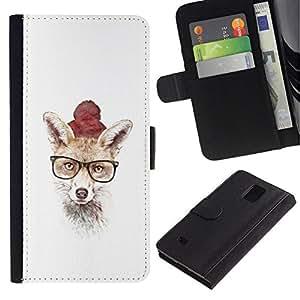 NEECELL GIFT forCITY // Billetera de cuero Caso Cubierta de protección Carcasa / Leather Wallet Case for Samsung Galaxy Note 4 IV // Hipster Fox lindo