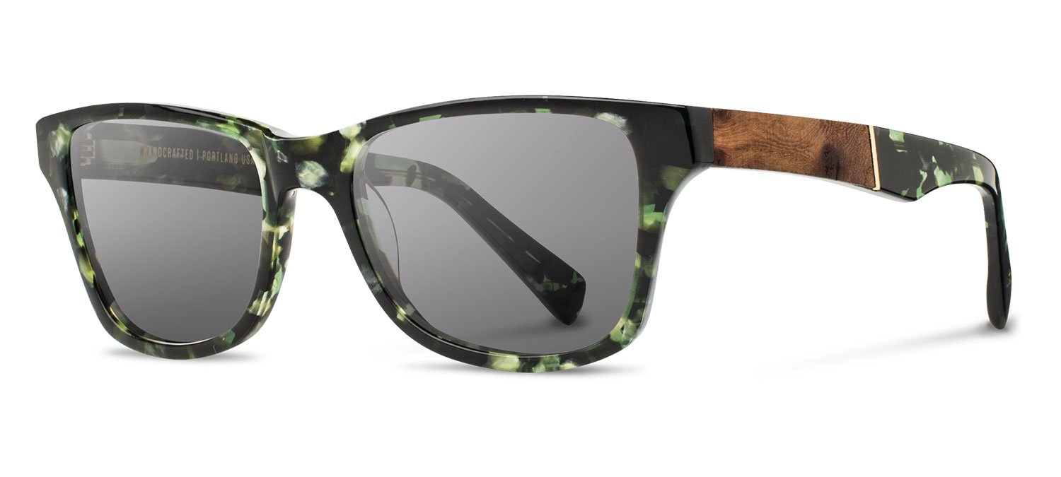 Shwood - Canby Acetate, Sustainability Meets Style, Dark Forest/Elm Burl, Grey Lenses