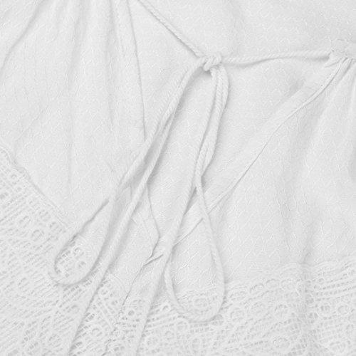 Dentelle Ample Dbardeur Femmes Bretelles Manches Caraco V Blanc Col sans Blouse Angelof Brodes Solide Fille F51xx