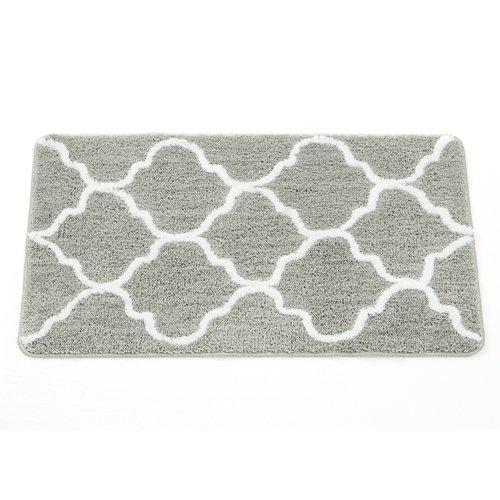 Fashion Dream Extra Long Microfiber Bathroom Rug bath mats- Non-slip Soft Absorbent Decorative Bath Runner Floor Mat Carpet (Wide 18 Inch x Length 30 Inch, Grey)