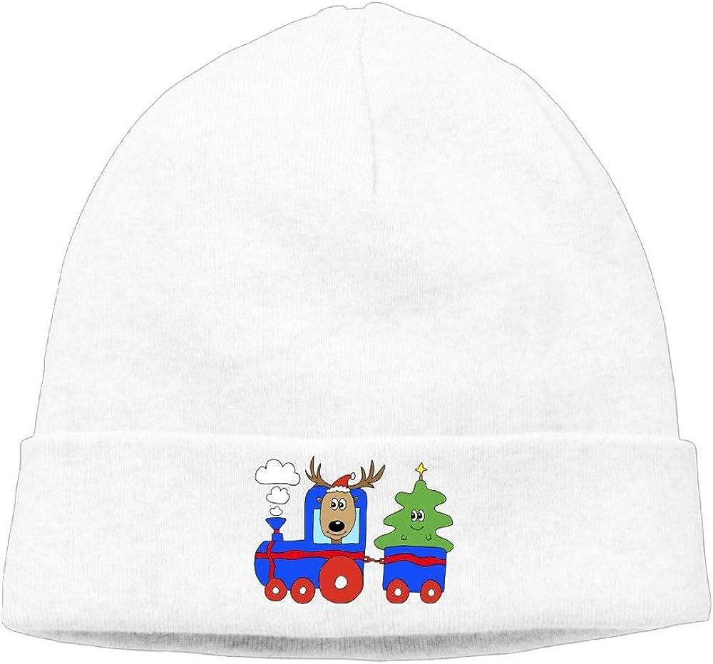 Riokk az Cute Christmas Train Deer Skull Caps Beanie Knit Hat for Men Winter Soft Cotton White