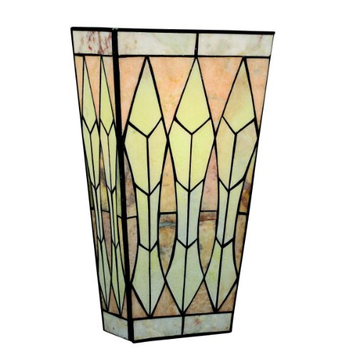 Mission Bronze Bracket - Kichler 69083 1-Light Piedra Energy Star Fluorescent Art Glass and Cut Stone ADA Compliant Wall Sconce, Olde Bronze