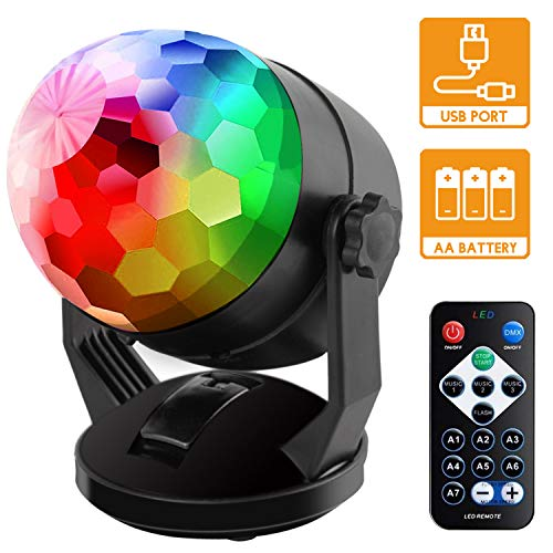 Sound Activated Party Lights with Remote Control, Battery Powered/USB Portable RBG Disco Ball Light, Dj Lighting, Strobe Lamp 7 Modes Stage Par Light for Home Room Dance Parties Birthday Karaoke