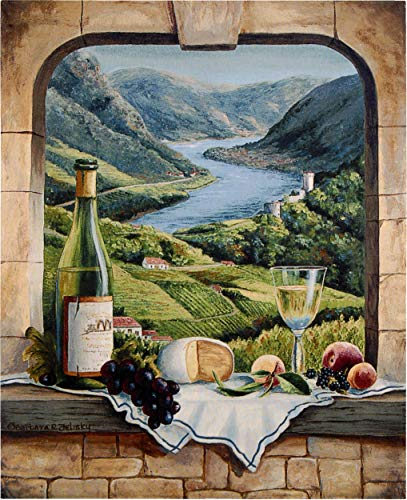 (Rhine Wine Moment by Barbara Felisky | Woven Tapestry Wall Art Hanging | Still Life Wine Tasting Fruit Cheese European Archway Villa Classic Theme | 100% Cotton USA)