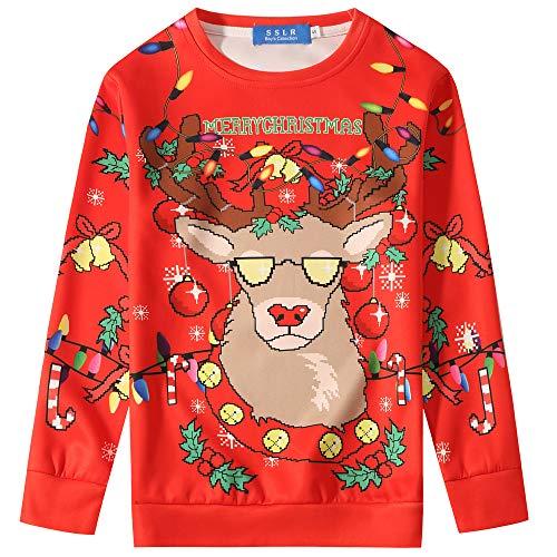 SSLR Big Boys' Funny Xmas Crewneck Pullover Ugly Christmas Sweater Sweatshirt (Small(8), Red)]()
