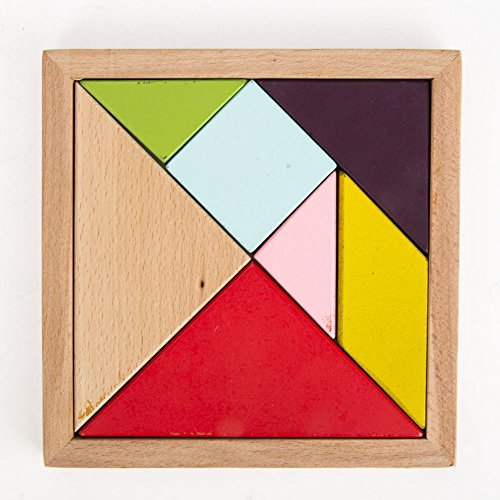 Puzzles Games Wooden Puzzle Pieces 7 Tangram Jigsaw Puzzle Educational Toy and Gift to Kids For Birthdays, Easter, Christmas,DIY Present Packing