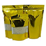 Golden Stand Up Aluminum Foil Bags with Clear Window Airtight Zipper Heat Seal Zip Lock Package Bags Mylar Foil Bulk Food Storage Pouches Coffee Nuts Wraps 400 Pieces 6.3''x9.4'' (16x24cm)