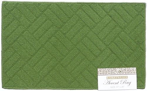 Green Basketweave (Accent Rug Basketweave Design Solid Green 17