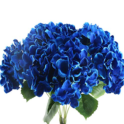NAHUAA 2PCS 5 Heads Artificial Silk Hydrangea Flowers Arrangements Large Fake Floral Bundles Home Wedding Bouquet Table Centerpieces Party Decoration (Royal Blue)
