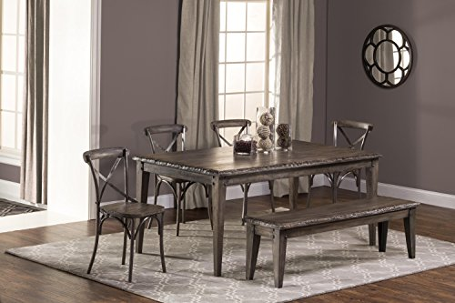 (Hillsdale Furniture Lorient 6-Piece Rectangle Dining Set with X Back Dining Chair and Bench Washed Charcoal Gray/Distressed Black )