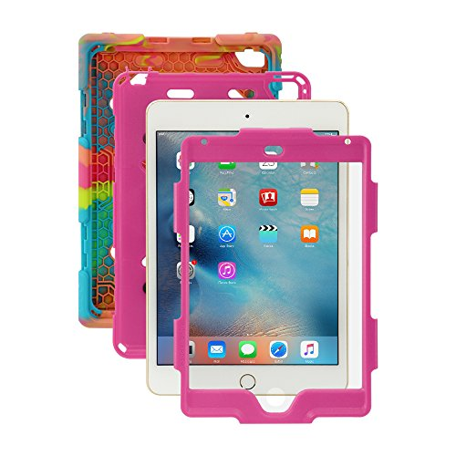 iPad Mini 4 Case, for Kids Aceguarder®[Shockproof] *Military Grade Heavy Duty* Rainproof Full Rugged Silicone with Kickstand & Screen Protector for Apple iPad Mini 4 2015 (4th Generation)-Ice/Rose (Cas For The Ipad Mini compare prices)