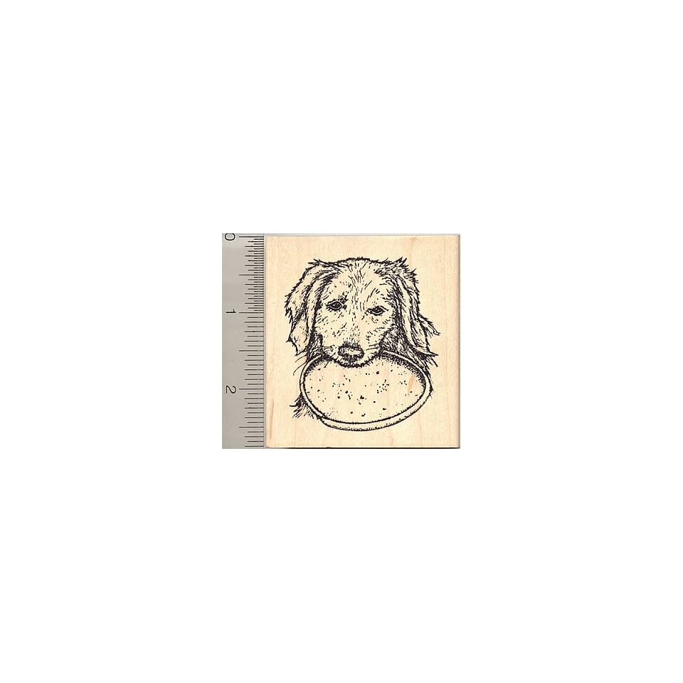 Golden Retriever Dog with Frisbee Rubber Stamp