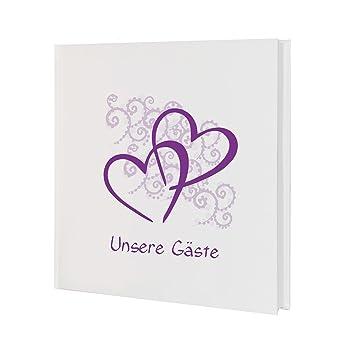 Amazon.de: Weddix Gästebuch zur Hochzeit mit Herzen in Lila ...