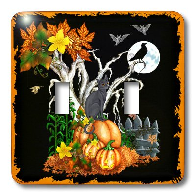 3dRose lsp_13069_2 Halloween Night with A Black Cat, Creepy Tree, Full Moon, Bats And Jack O Lanterns Double Toggle -
