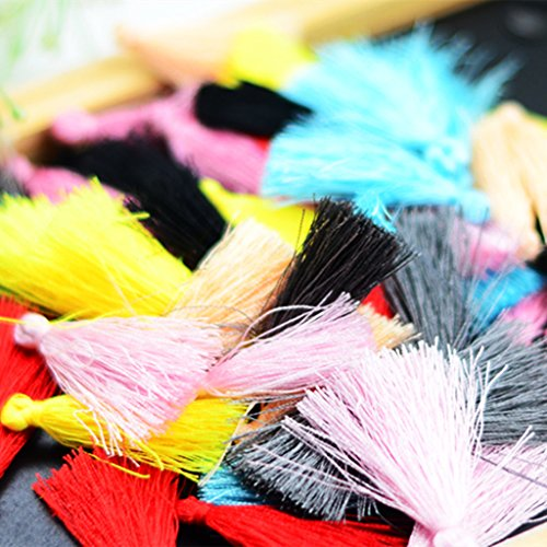 MonkeyJack 50 Pieces Muticolor Small Chinese Silky Thread Tassel Charms Jewelry Making Earring Findings Bracelet Pendant (Beaded Charm Bookmark Craft)
