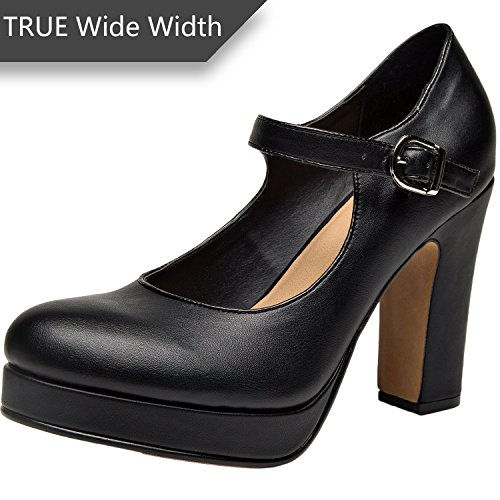 Luoika Wide Width Mary Jean Heel Pump for Women w/Ankle Buckle Strap, Plus Size Mid Chunky Block Stacked Heels,Platform Shoes(Black,Size 9) by Luoika