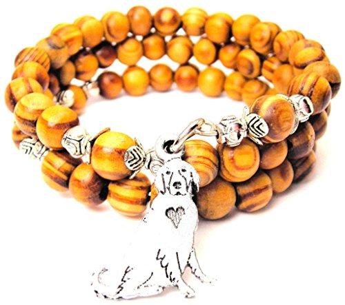 Sitting Golden Retriever Wrap Around Wood Bracelet ()
