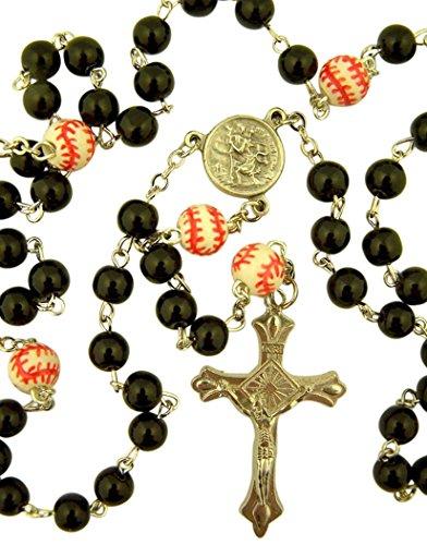 dtc My Sports Rosary Saint Christopher Acrylic Baseball Bead Rosary, 13 Inch