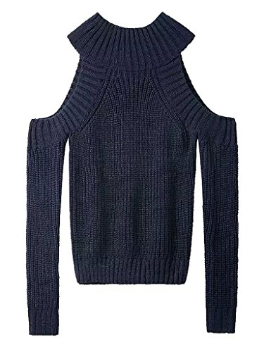 Persun Womens Shoulder Cable knit Sweater