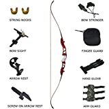adult starter bow and arrow set - D&Q 66'' Recurve Takedown Bow Set Hunting Shooting Target Practice Adult Women Training Competition Athletic Longbow Archery Kit Right Hand 20 22 24 26 28 30 32 34 LB Black Blue Red (Red, 20lb)