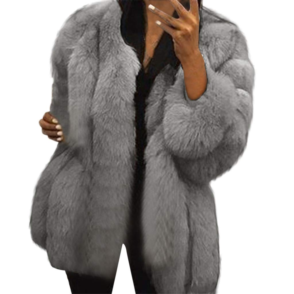 HOSOME Women Warm Fuax Fur Sexy Coat Winter Fashion Plus Outwear LightGray