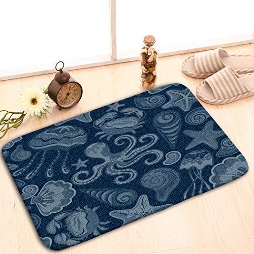 zexuandiy Place Mats Washable Fabric Placemats for Dining Room Kitchen Table Decor 23.6x15.7 Denim Jeans Butterflies Blue Jeans Cloth sea Shells c
